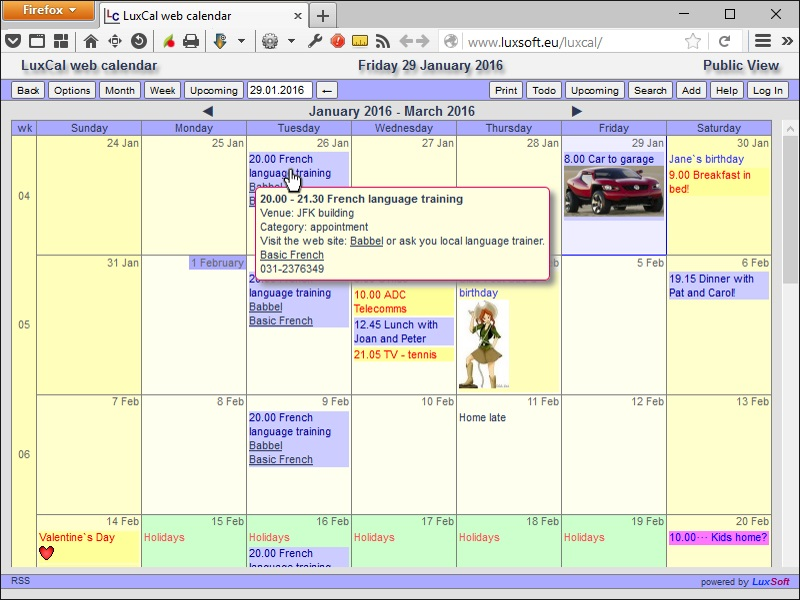 LuxCal Web Based Calendar SQLite Screen shot